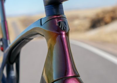 Painted in house, the Madone changes colors depending on the angle of the light