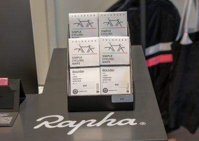 Local bike shops and the Rapha Boulder Clubhouse stock Zach's maps