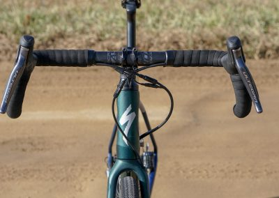 With gravel bikes, it's all about the wide stance: at the fork, at the rim and tires, and in the flared drops