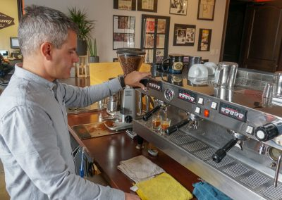 Now only employees and visiting customers get to enjoy the top-end espresso machine